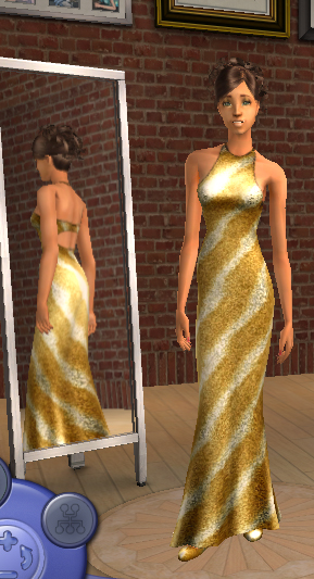 Silk Stripes maxis Dress Recolor Golddr10