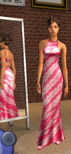 Silk Stripes maxis Dress Recolor Pinkdr10