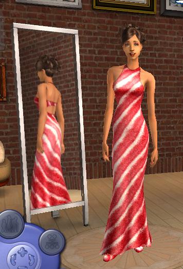 Silk Stripes maxis Dress Recolor Reddre10