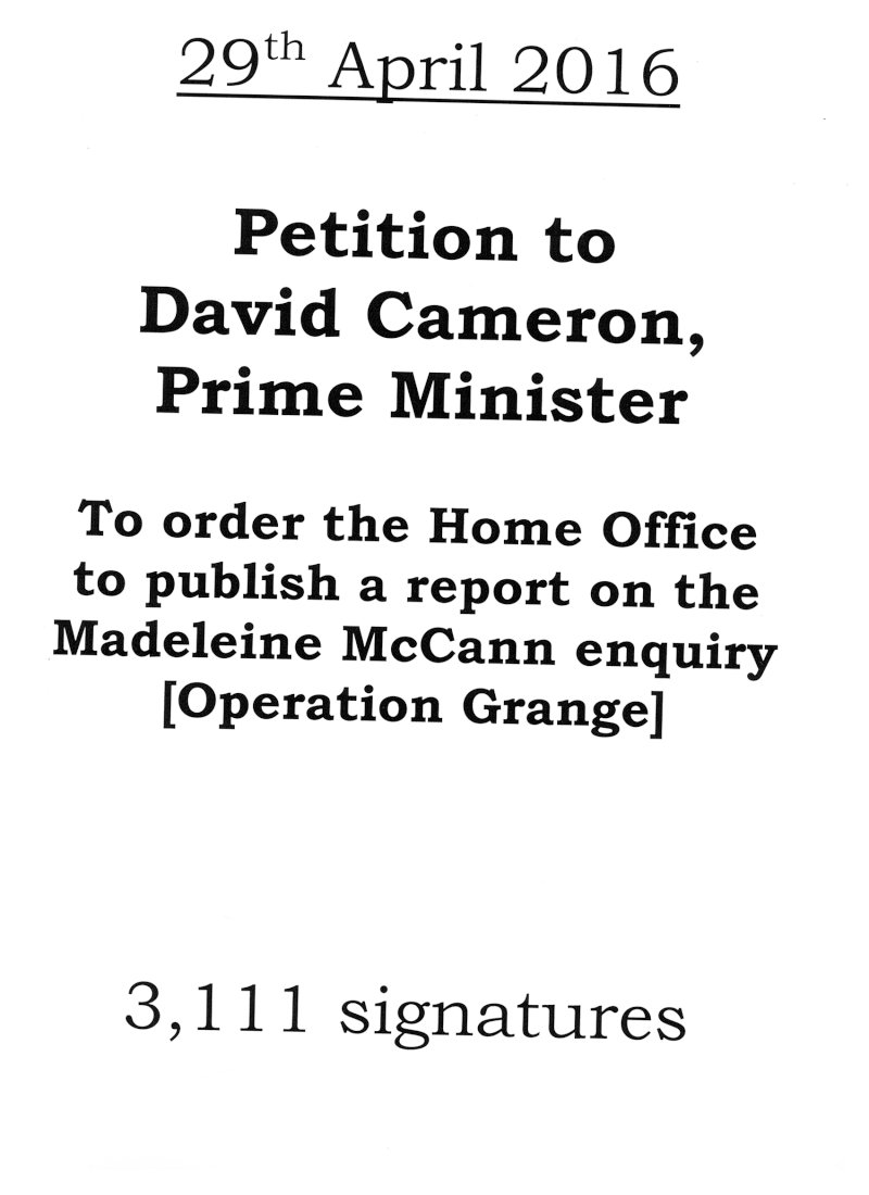29/4/16 - A petition critical of Operation Grange is presented at 10 Downing Street   Petiti11