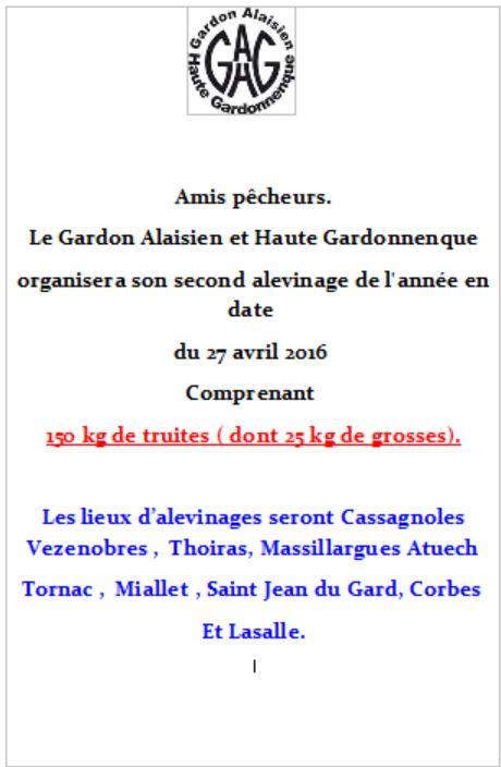 A.A.P.P.M.A Gardon alaisien et H.G. - Portail Alevin11