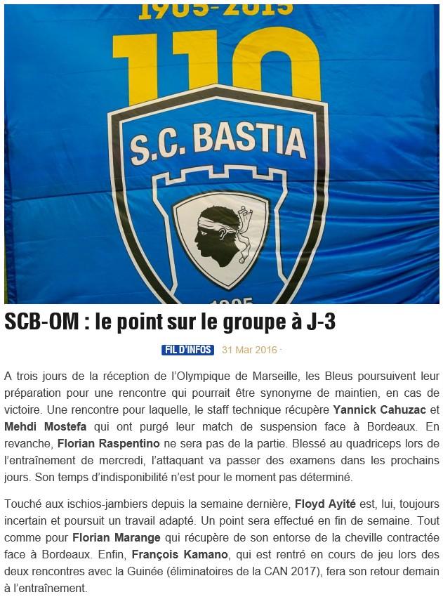 Avant match : Bastia - Marseille S10