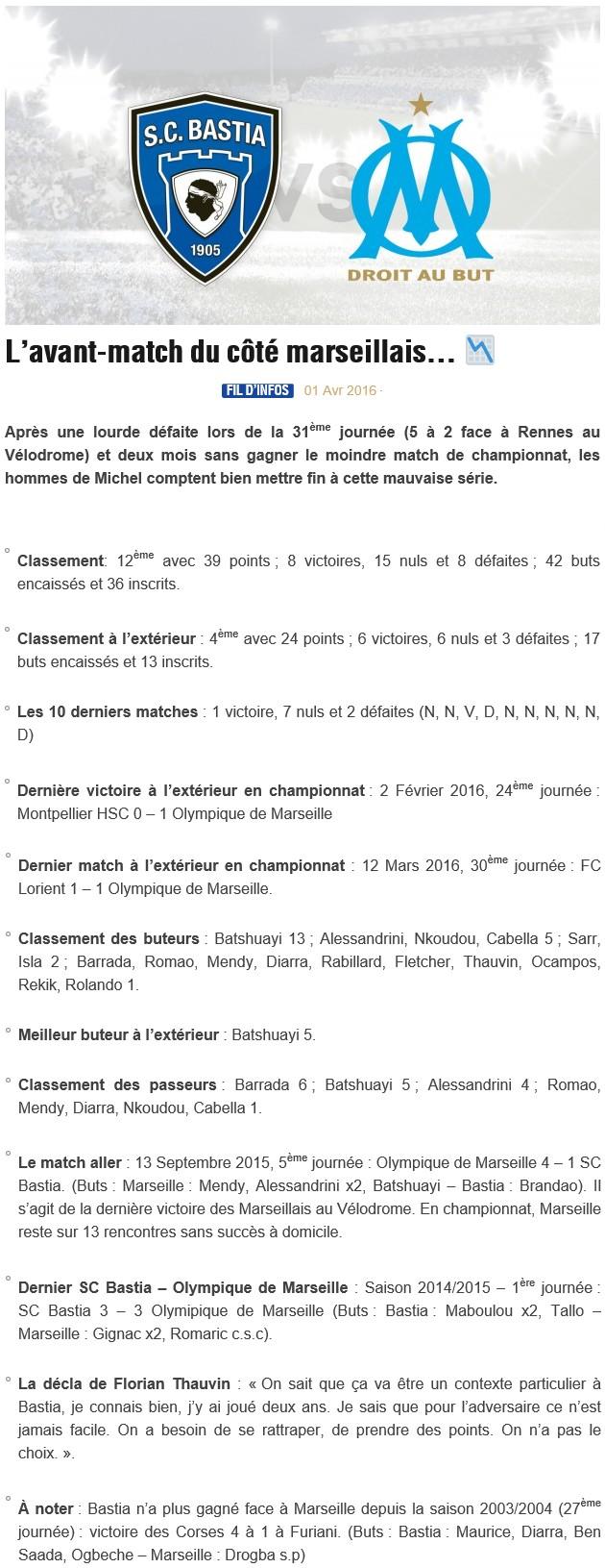 Avant match : Bastia - Marseille S12