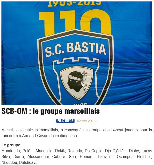 J32 / Jeu des pronos - Prono Bastia-Marseille S16