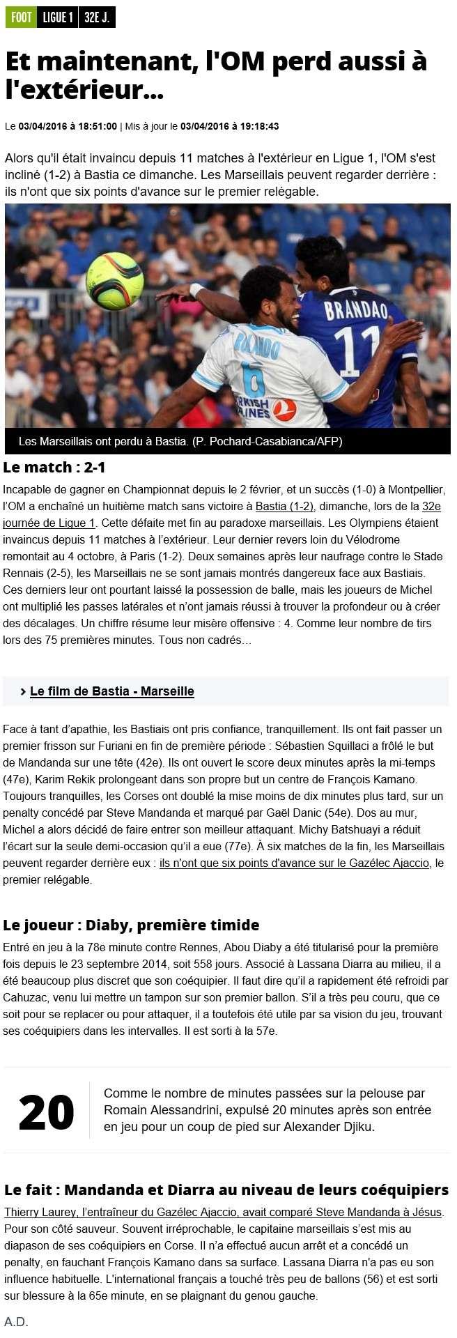 Après match : Bastia - Marseille S17