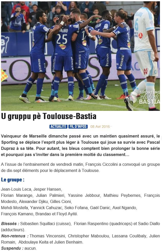J33 / Jeu des pronos - Prono Toulouse-Bastia S19