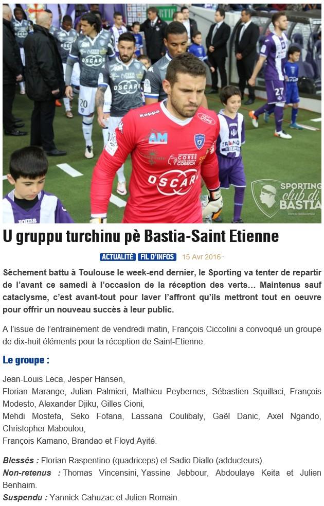 J34 / Jeu des pronos - Prono Bastia-St Etienne S28