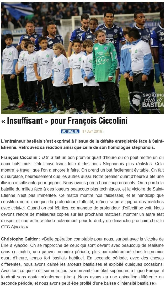 Après match : Bastia - St Etienne S31