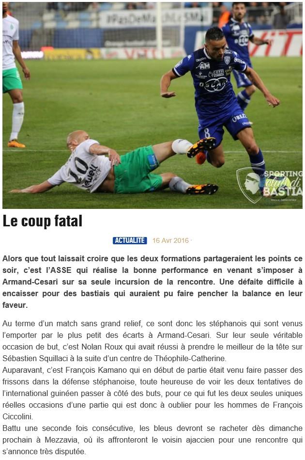 Après match : Bastia - St Etienne S32