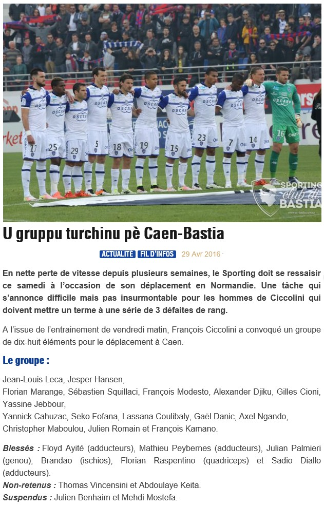 J36 / Jeu des pronos - Prono Caen-Bastia S40