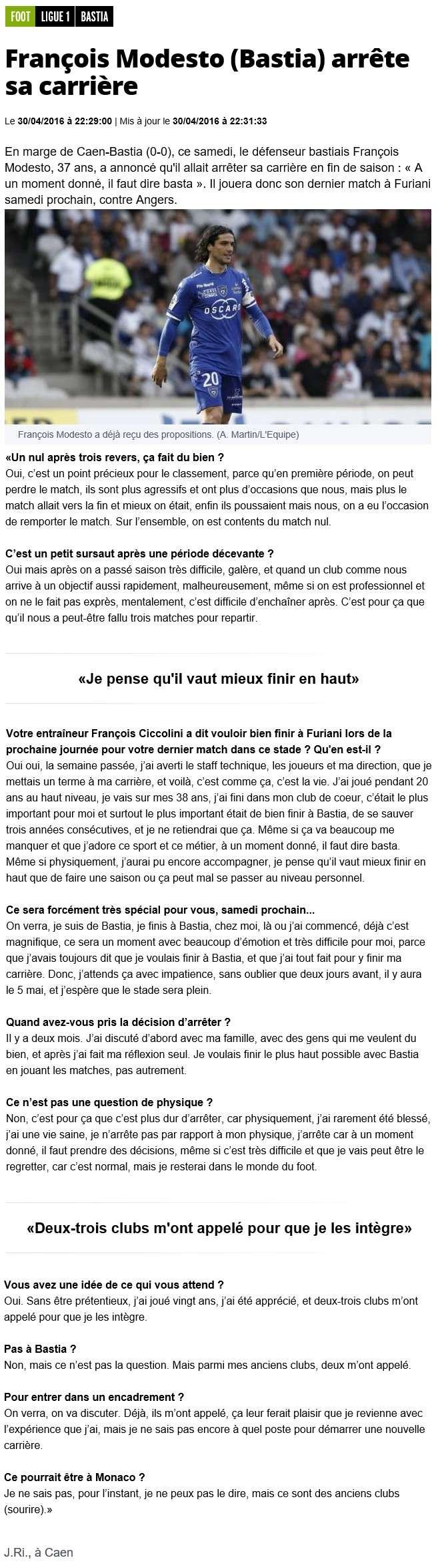 François Modesto annonce sa retraite sportive S45
