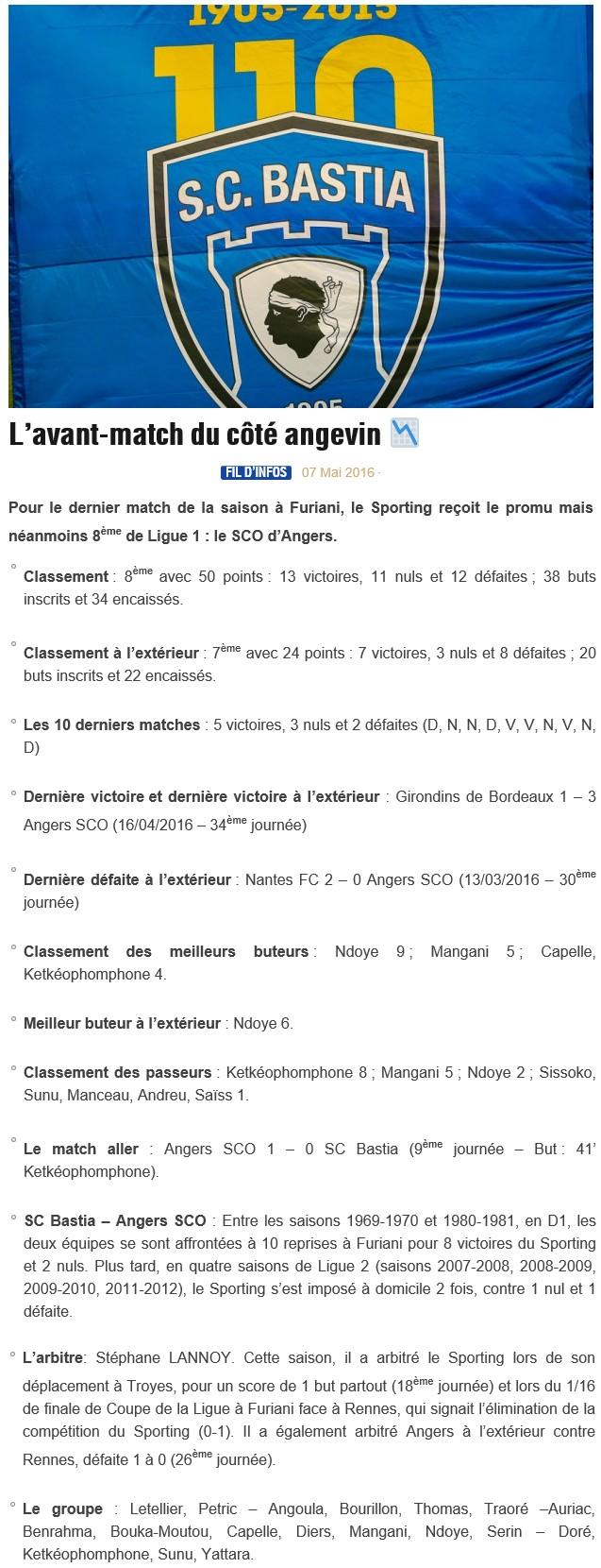 Avant match : Bastia - Angers S46