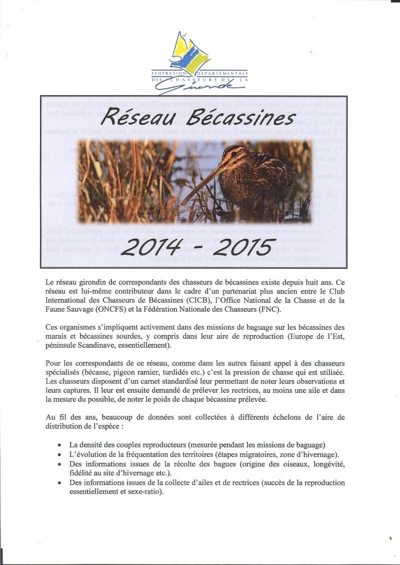Réseau bécassines bilan saison 14/15 Gironde Rap12