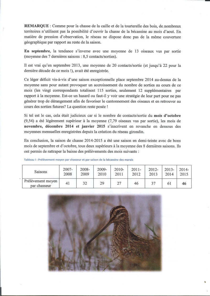 Réseau bécassines bilan saison 14/15 Gironde Rap210
