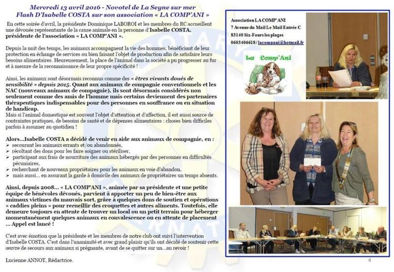 Article sur LA COMP'ANI en 2016 avec le ROTARY Rotary10
