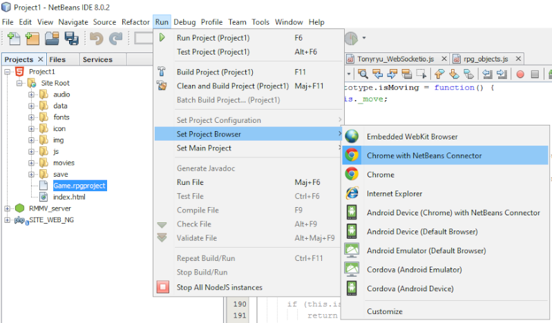Installer et utiliser Netbeans avec un projet RMMV Netbea13