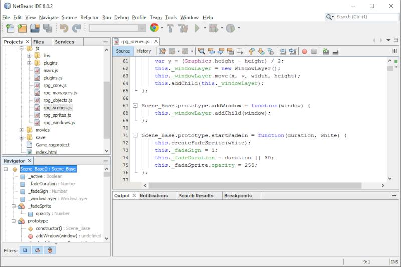 Installer et utiliser Netbeans avec un projet RMMV Netbea14