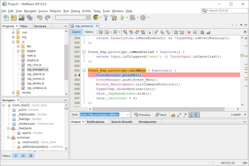 Installer et utiliser Netbeans avec un projet RMMV Netbea15