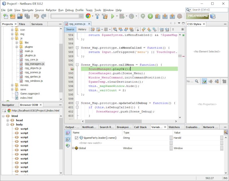 Installer et utiliser Netbeans avec un projet RMMV Netbea16