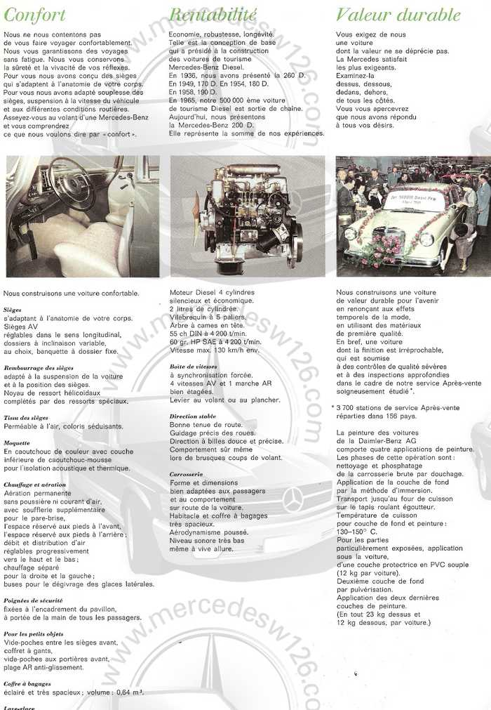 Catalogue de 1967 sur la Mercedes W110 200 D  200_d_17