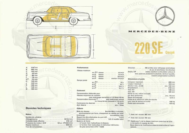 Catalogue de 1961 sur la Mercedes W111 220 SE coupé 220_se18