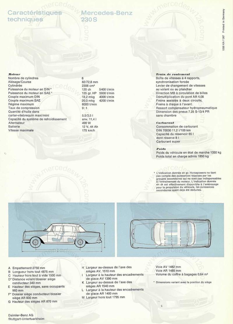 Catalogue de 1967 sur la Mercedes W111 230 S 230_s116