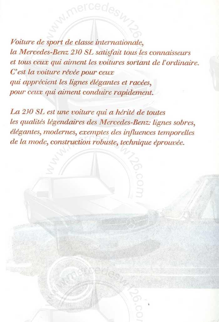"""Catalogue de 1966 sur la Mercedes W113 """"pagode"""" 230 SL 230_sl20"""