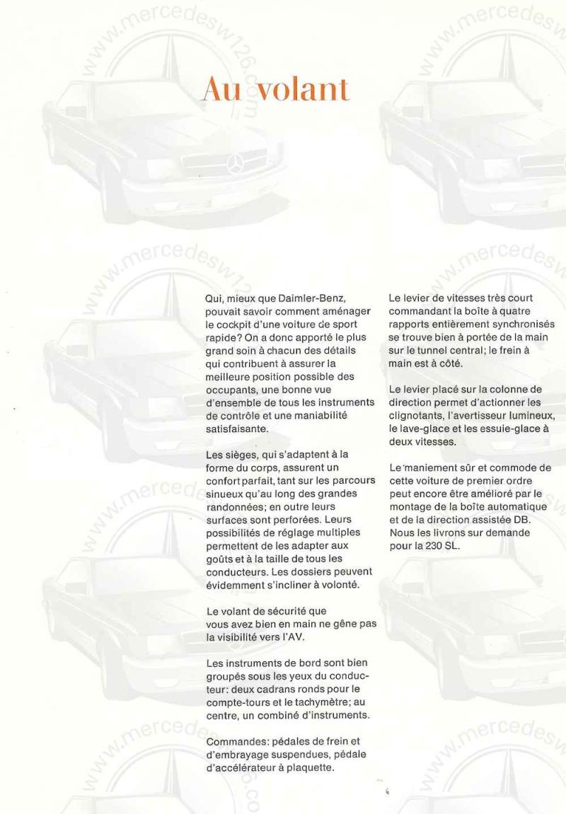 """Catalogue de 1966 sur la Mercedes W113 """"pagode"""" 230 SL 230_sl24"""