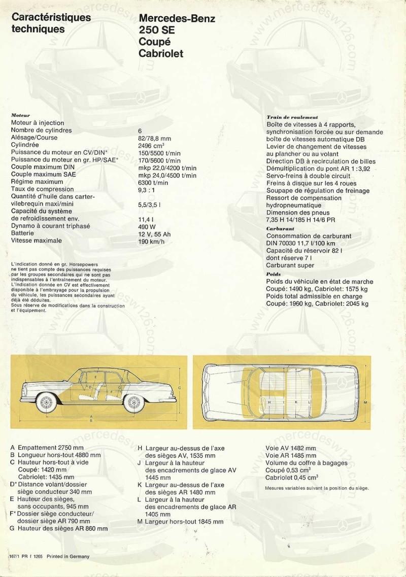 Catalogue de 1965 sur la Mercedes W111 250 SE coupé & cabriolet 250_se12