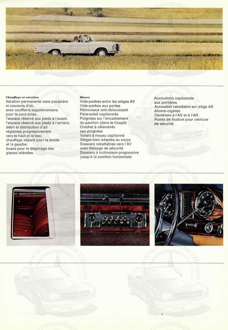 Catalogue de 1965 sur la Mercedes W111 250 SE coupé & cabriolet 250_se13