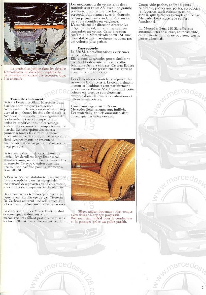 Catalogue de 1970 sur la Mercedes pagode W113 280 SL 280_sl15