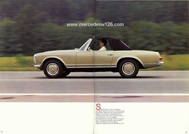 Catalogue de 1970 sur la Mercedes pagode W113 280 SL 280_sl18