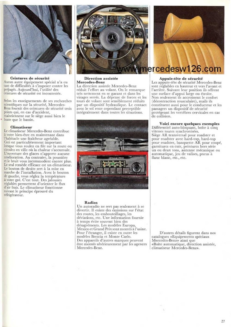 Catalogue de 1970 sur la Mercedes pagode W113 280 SL 280_sl30