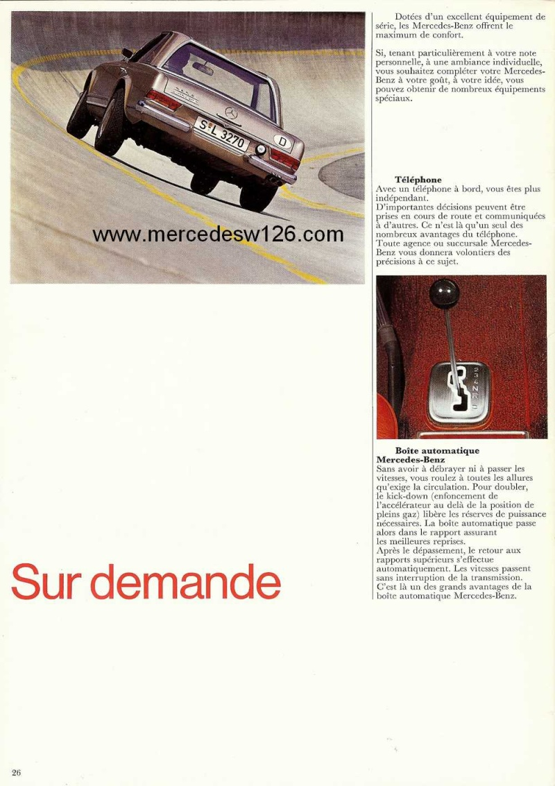 Catalogue de 1970 sur la Mercedes pagode W113 280 SL 280_sl31