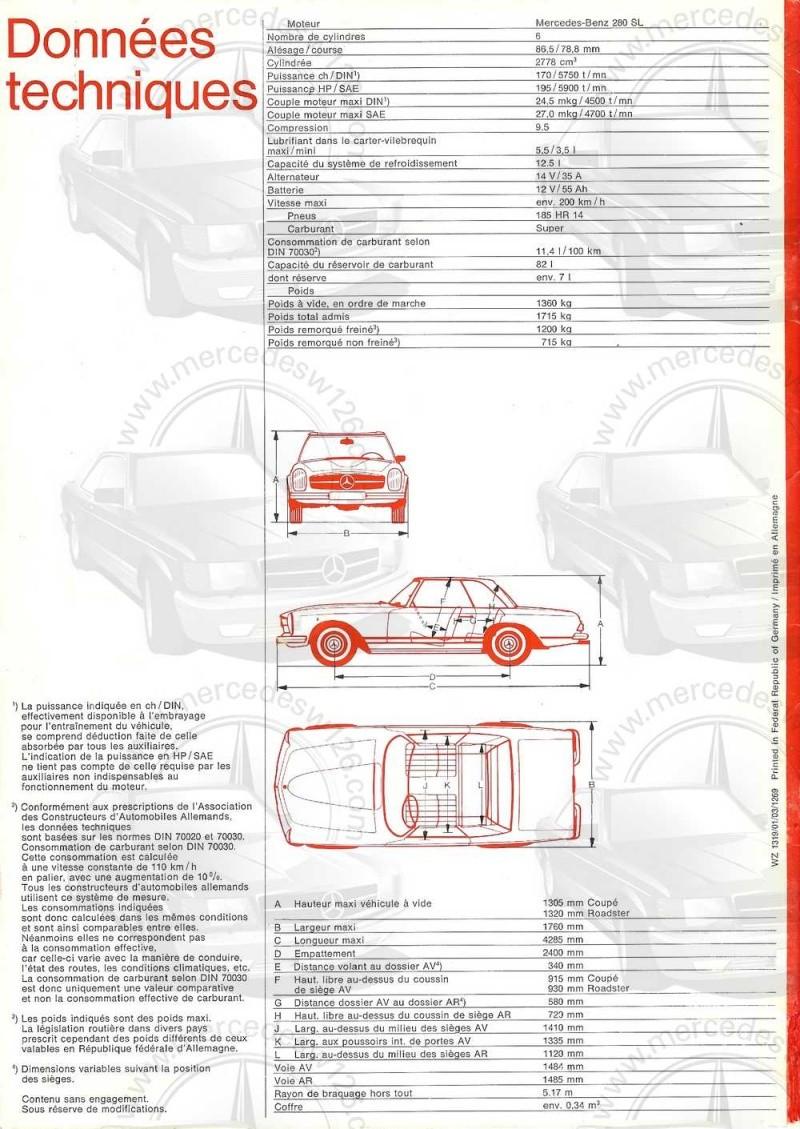 Catalogue de 1970 sur la Mercedes pagode W113 280 SL 280_sl32