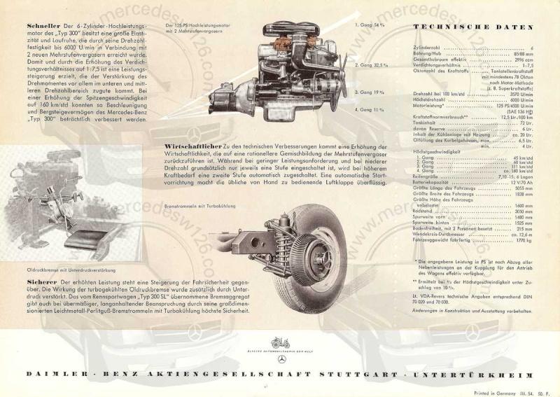 """Prospectus de 1954 sur la Mercedes W186 """"typ 300"""" 300_1921"""