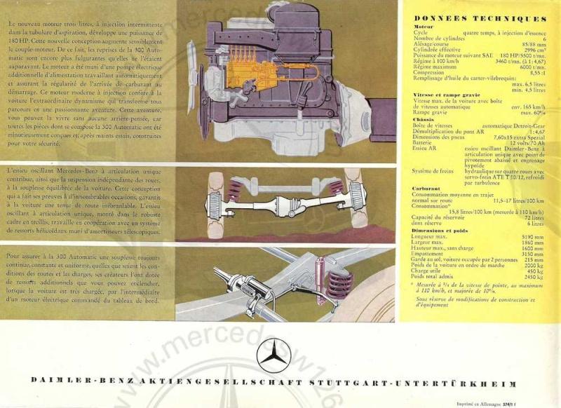 """Catalogue de 1957 sur la Mercedes W189 """"300 automatic"""" 300_au13"""