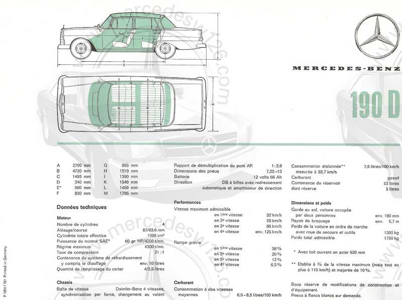 Catalogue de 1961 sur les Mercedes W110 190 & 190 D Catalo58