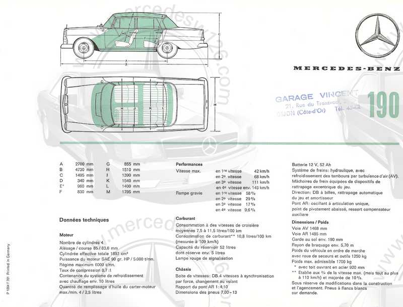 Catalogue de 1961 sur les Mercedes W110 190 & 190 D Catalo59