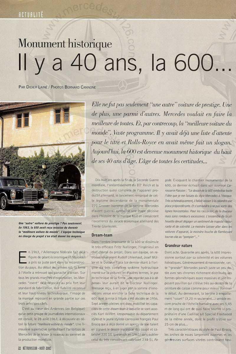 Rétroviseur 08/2003: Mercedes 600 Mb_60012