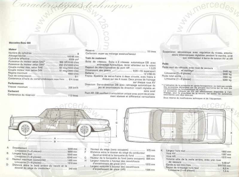 Catalogue de 1965 sur la Mercedes 600 W100 Merced24