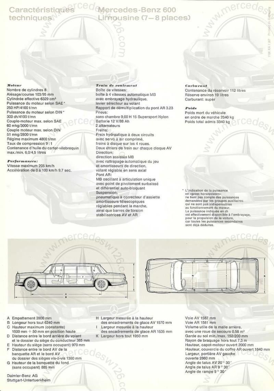 Catalogue de 1967 sur la Mercedes W100 600 W100_136