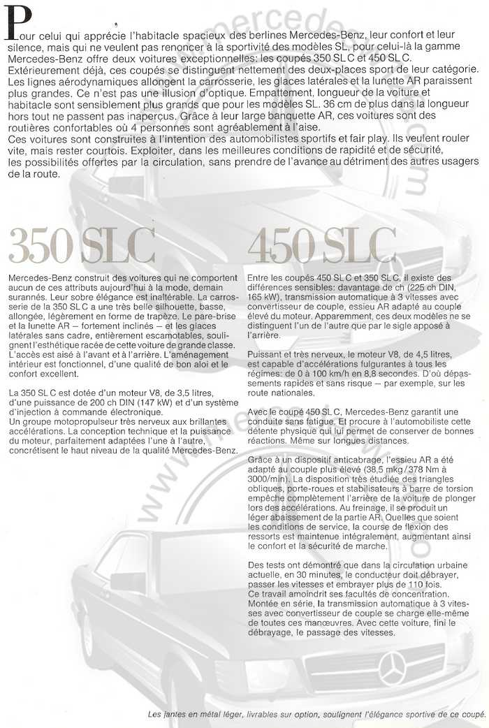 Catalogue Mercedes 350 & 450 SLC en mars 1973 W107_154