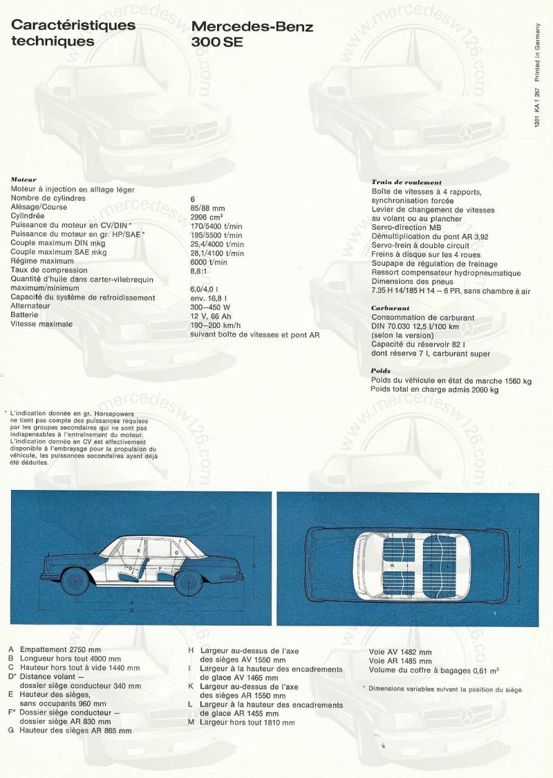 Catalogue de 1967 sur les Mercedes W108 250 S, 250 SE et 300 SE W108_121