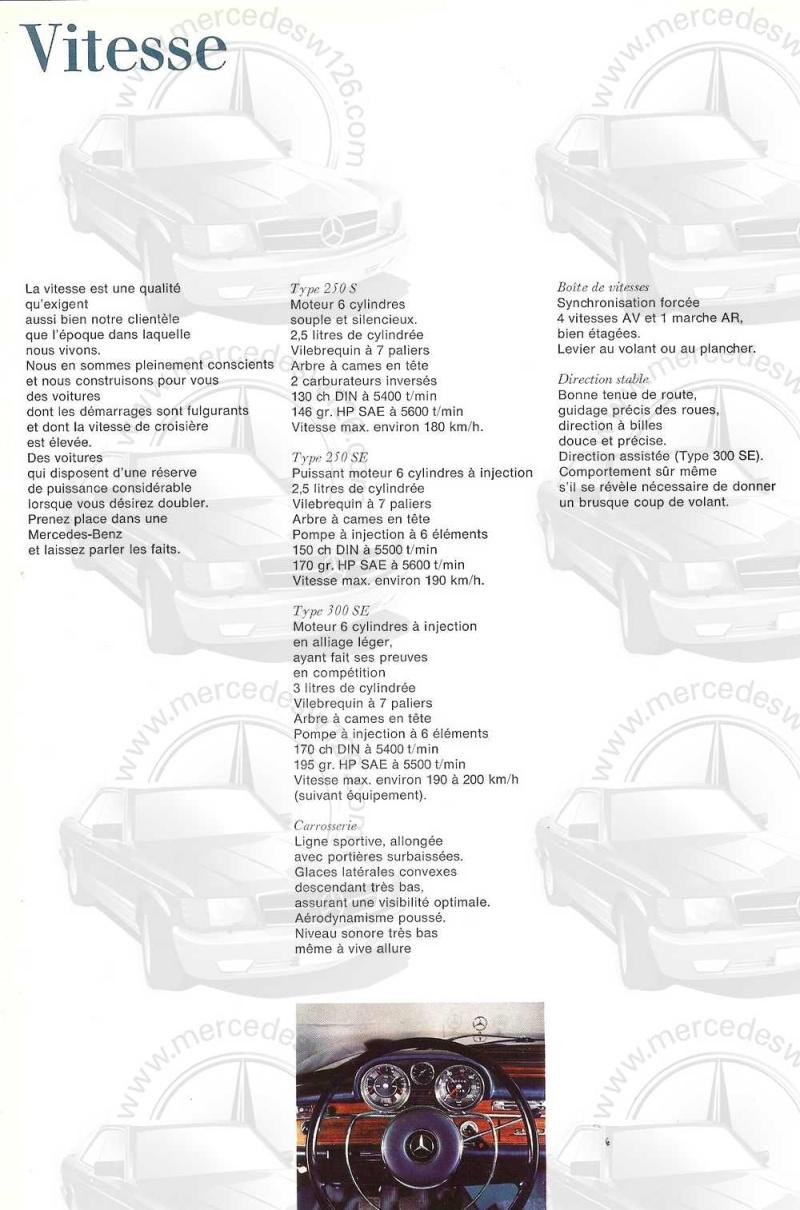 Catalogue de 1965 sur les Mercedes W108 250 S, 250 SE et 300 SE W108_132