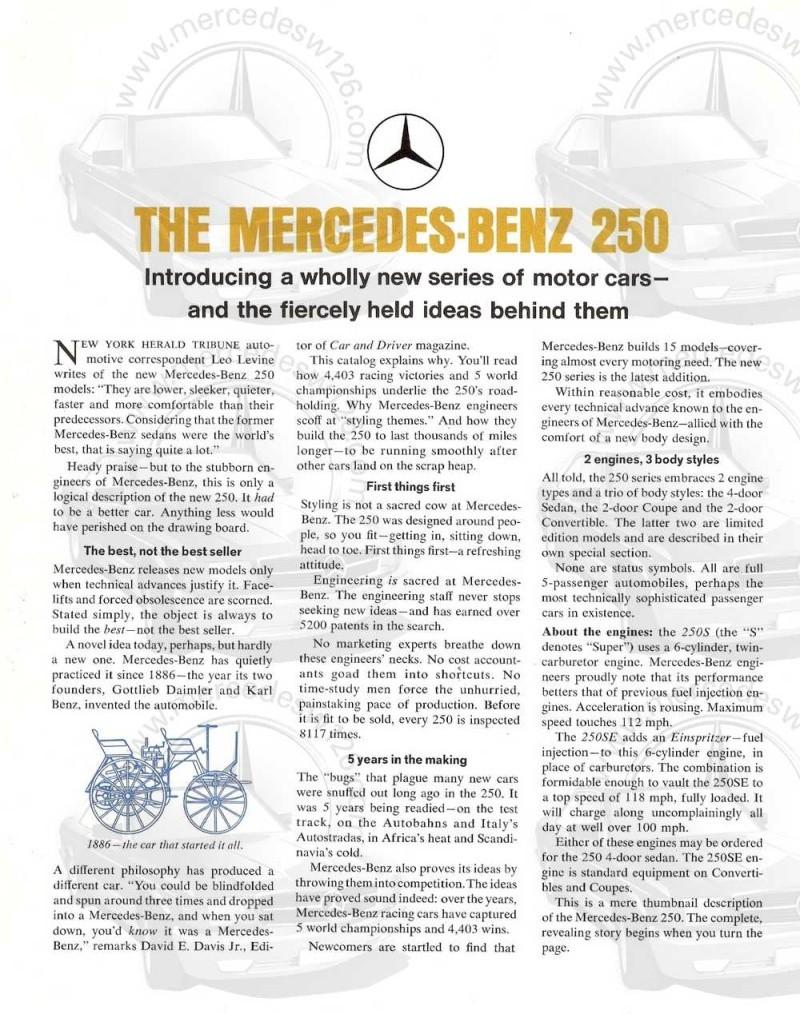 Catalogue de 1966 sur les Mercedes W108 250 américaines W108_226