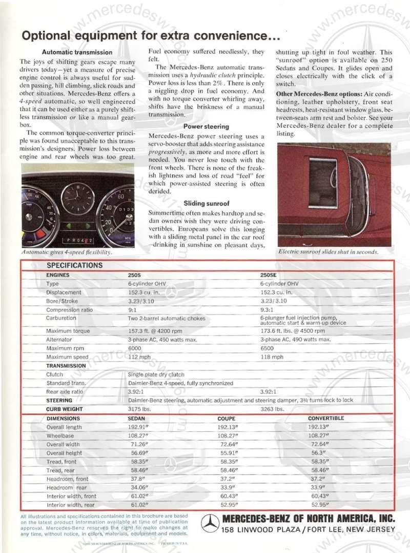Catalogue de 1966 sur les Mercedes W108 250 américaines W108_234