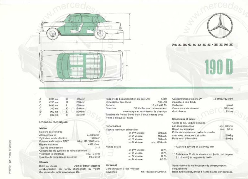 Catalogue de 1964 sur les Mercedes W110 190 & 190 D W110_126