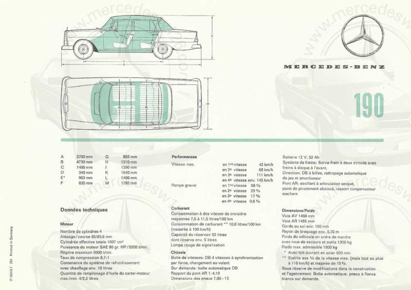 Catalogue de 1964 sur les Mercedes W110 190 & 190 D W110_129