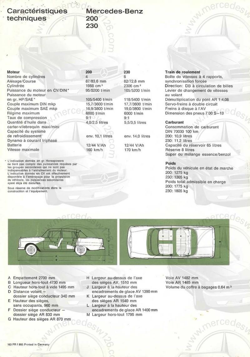 Catalogue de 1965 sur les Mercedes W110 200 & 230 W110_231
